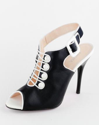 Sandale negre cu bumbi albi Anona