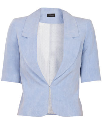Sacou bleu din in cu maneca scurta
