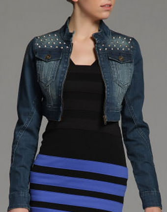 Jacheta jeans scurta cu tinte Navy