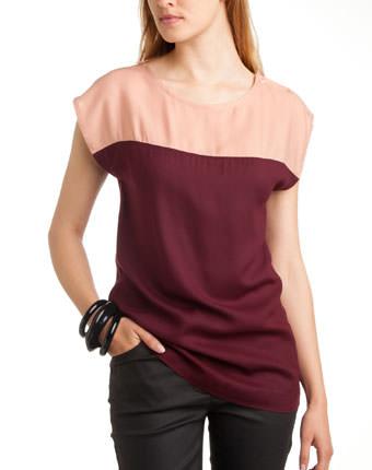 Bluza bicolora fara maneci pentru femei
