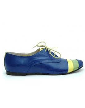 Pantofi fara toc stil Oxford albastri