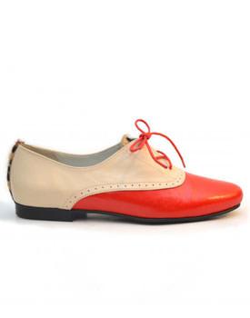Pantofi stil Oxford crem cu portocaliu