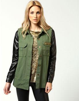 Jacheta khaki cu maneci din pu