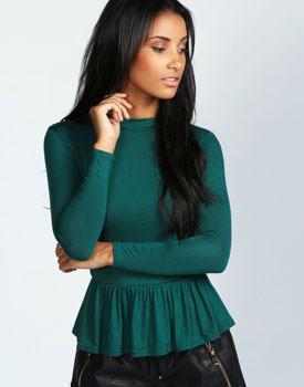 Bluza verde Jersey peplum
