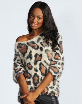 Pulover leopard oversized