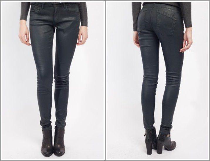 Pantaloni S. Oliver cu aspect peliculizat gri antracit
