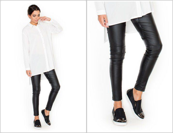 Pantaloni drepti din imitatie de piele
