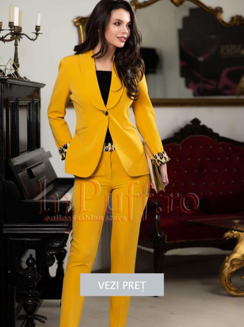 Costum dama cu pantaloni galben mustar
