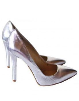 Pantofi argintii din piele