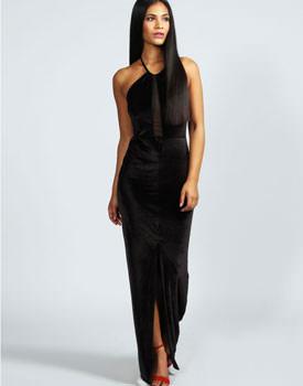 Rochie neagra lunga din catifea