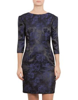 Rochie negru cu mov din brocard