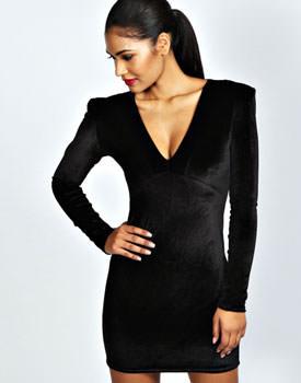 Rochie mini neagra din catifea