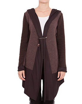 Cardigan cu gluga din tricot