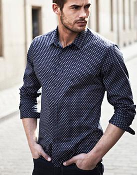 Camasi elegante cu maneca lunga pentru barbati cu imprimeu