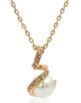 Coliere superbe cadou pentru Sfantul Valentin Colier cu perla naturala Swarovski