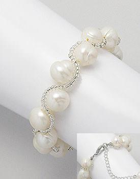 Bratara cu perle albe