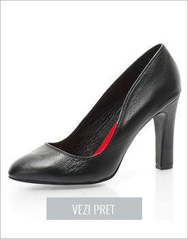 Pantofi cu toc negri Elle
