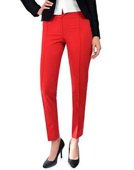 Pantaloni rosii cu dunga