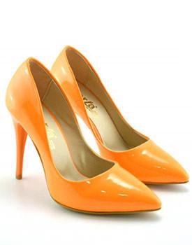 Pantofi colorati cu toc inalt Pantofi Lancor portocalii