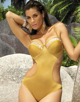 Costum de baie galben intreg