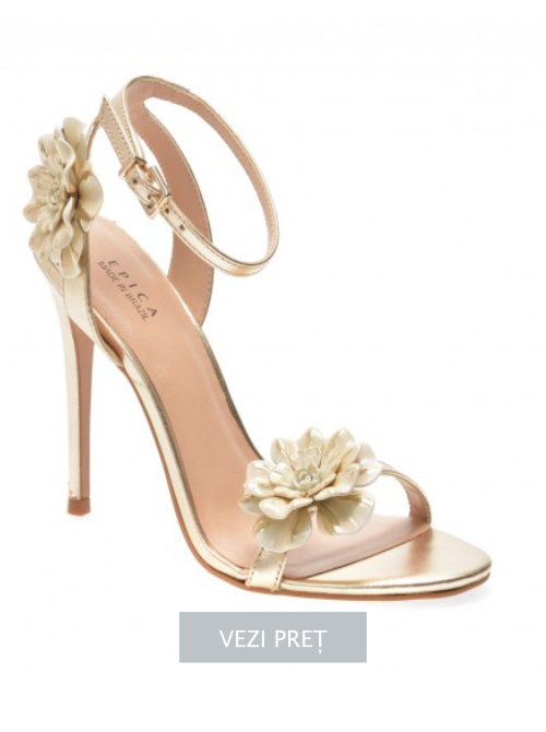 Sandale Epica aurii din piele naturala