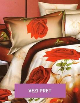 Lenjerie 3D de pat dublu cu trandafiri rosii