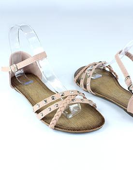 Pana la 80% reducere la haine si incaltaminte Sandale roz cu talpa plata