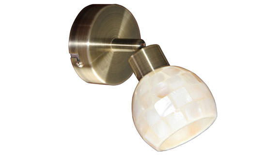 Aplica moderna din metal antichizat cu abajur din sticla sidefata - Karia