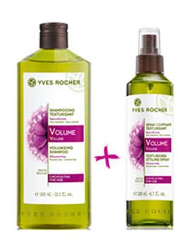 Cosmetice Yves Rocher la promotie Set sampon si spray pentru coafura cu volum