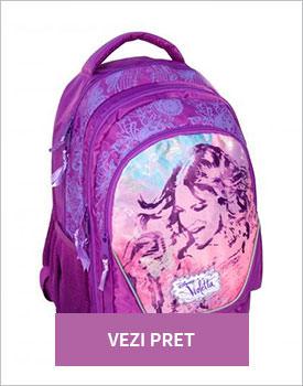 Ghiozdan doua compartimente Disney Violetta mov