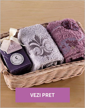 Set 2 prosoape in cos cu sapun elize plum grey