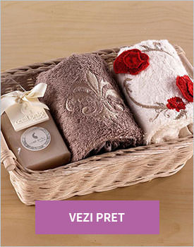 Set 2 prosoape cu sapun evy red flower brown