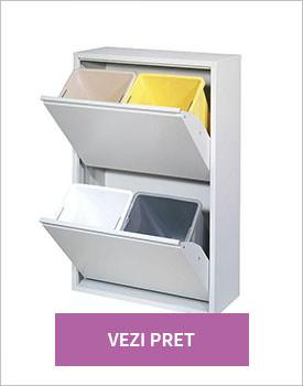Dulap reciclare selectiva cu 4 cosuri