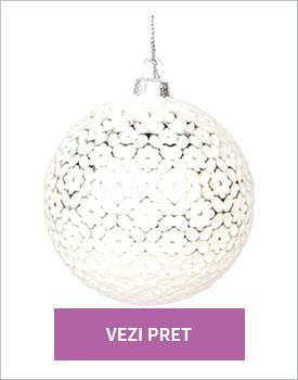 Glob decorativ silver white
