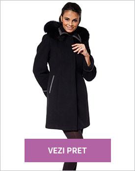 Palton negru cu gri lana