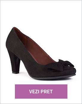 Pantofi Clarette negri din piele intoarsa