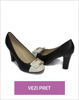 Pantofi eleganti dama bej cu negru Deryn