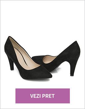 Pantofi eleganti negri Saki din catifea