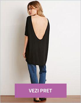 Tricou Forever21 negru cu spatele gol