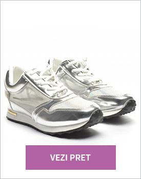 Pantofi Tym argintii