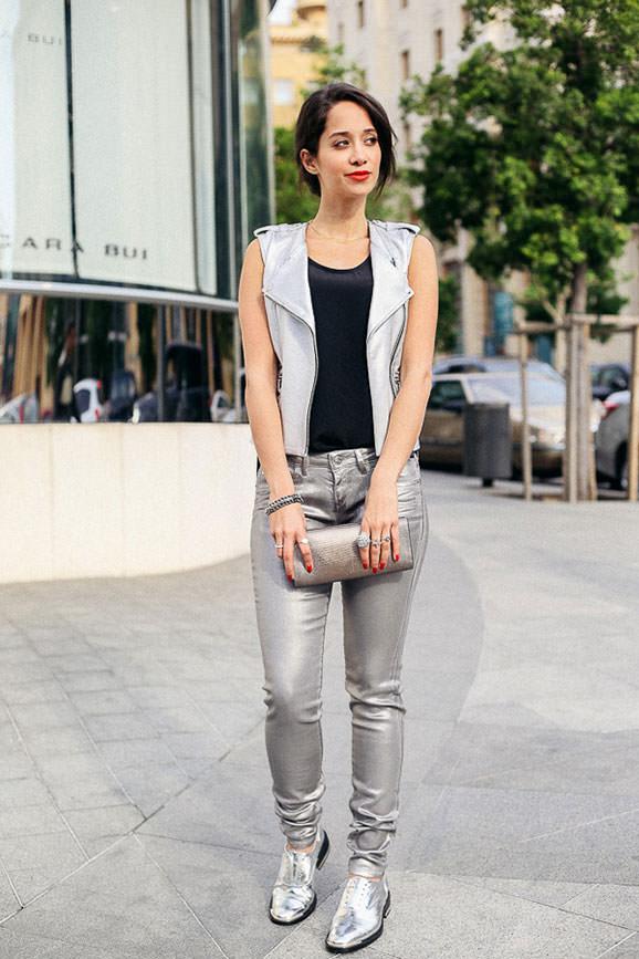 pantofi metalizati sport cu pantaloni metalizati