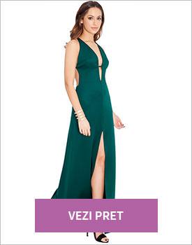 Rochie verde cu decolteu adanc