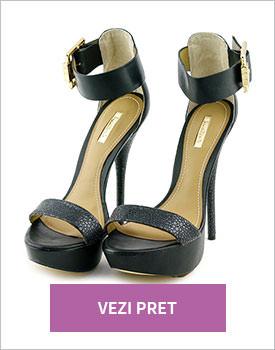 Sandale Dumond cu toc stiletto negru