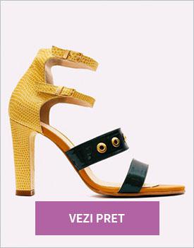 Sandale dama din piele cu toc gros inalt