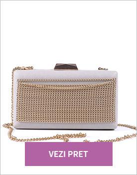 Geanta plic Chain gri perlat