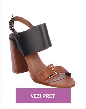 Sandale Epica negru coniac din piele naturala
