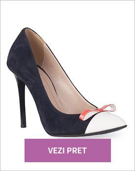 Pantofi stiletto bleumarin din piele intoarsa