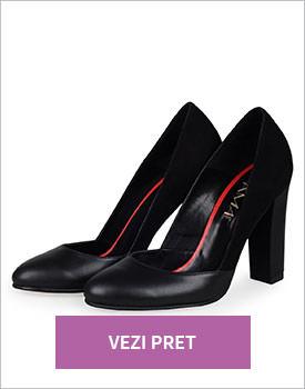 Pantofi negri cu toc inalt din piele naturala
