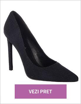 Pantofi Epica negri din piele naturala