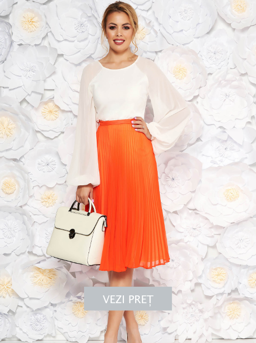 fusta-starshiners-portocalie-eleganta-plisata